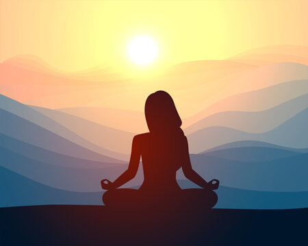 Woman meditating in sitting yoga position on the top of a mountains. Concept illustration for yoga, meditation, relax, recreation, healthy lifestyle.