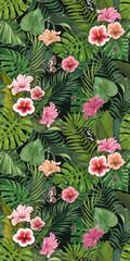 Pink lilies in the garden. Vintage dark floral pattern. Tropical illustration