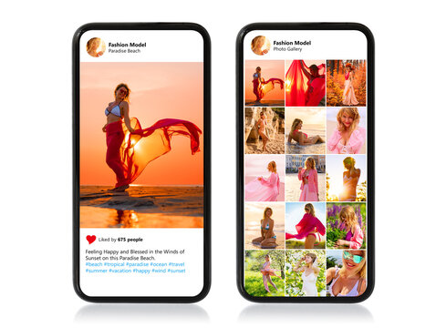 Isolated mobile phones with single photo and photo gallery of beautiful female model shown on screens
