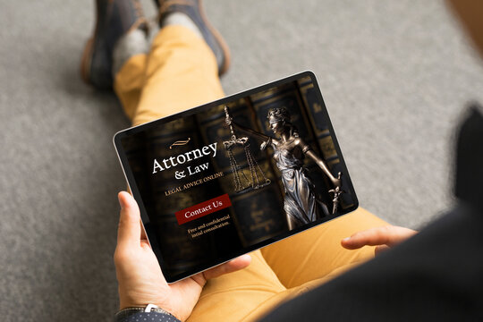 Man looking for legal help and viewing attorney's website