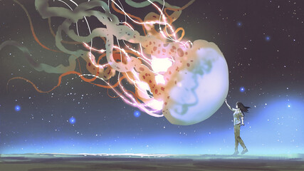 woman reached out to touch the fantasy jellyfish floating in the air, digital art style, illustration painting