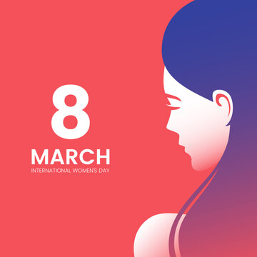 International Women's Day greeting card design with beautiful woman and place for text. Beautiful female face silhouette with long hair. Side view portrait of pretty girl. Vector illustration.