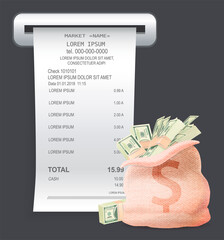 Wall Mural - Payment check paper document poked out of the cash register near a bag with bills and dollar sign isilated on black background. Piece of money, buying and selling concept, stacks of banknotes