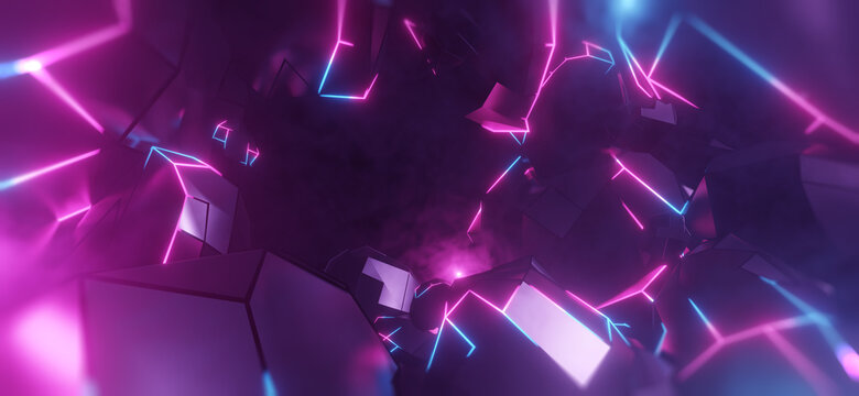 Virtual Reality space world in a block, cube effect. Video Game retro asteroid field. purple, pink and blue lights racing along a digital landscape. 3D render