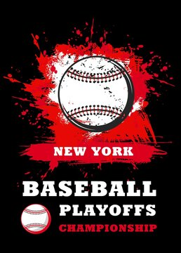 Baseball sport game championship vector invitation poster of white leather baseball ball on red background with brush strokes, splatters and splashes. Sport competition or playoff league match flyer