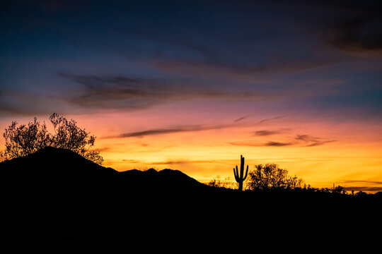 Sunset in the Sonoran Desert, just outside of Phoenix, Arizona.