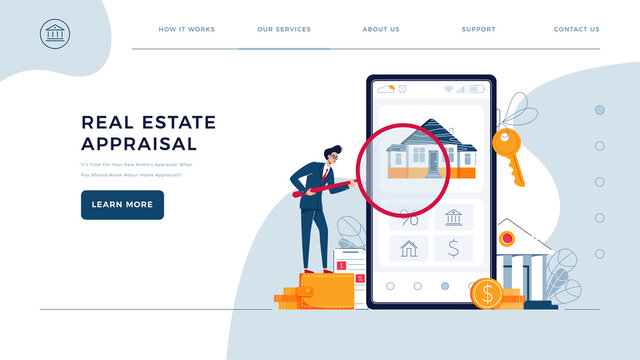 Real estate appraisal web template. Businessman is holding a magnifying glass over a house, doing property inspection of a house. Home appraisal service concept for homepage. Flat vector illustration