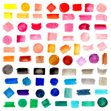 Colorful watercolor shapes. brushstroke collection