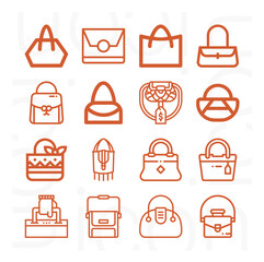 Fototapeta 16 pack of handbag  lineal web icons set obraz