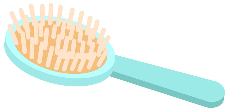 Hair brush with many bristles vector illustration. Blue comb isolated on white background. Item for combing hair and scalp care. Wooden comb with soft, comfortable bristles and a long handle