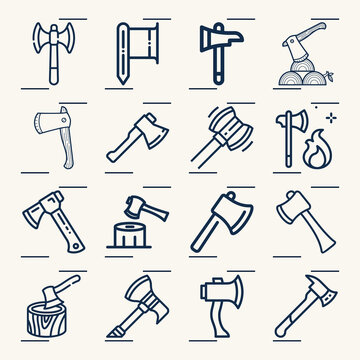Simple set of axe throwing related lineal icons.