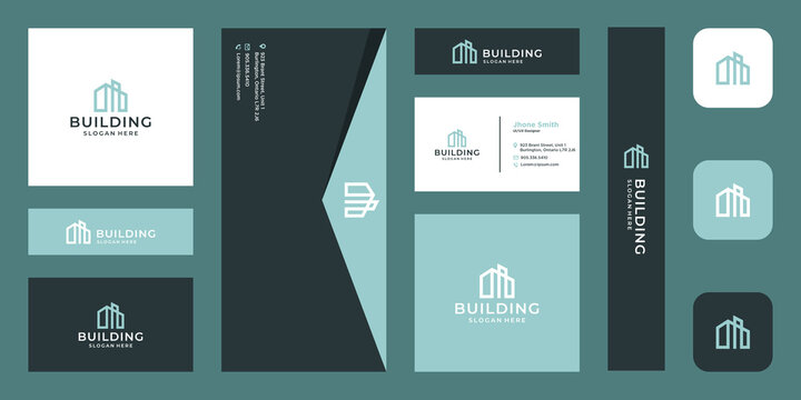 architectural building logo with real estate logo design template. icons for real estate businesses, buildings, luxury businesses. premium Vectors. business card.