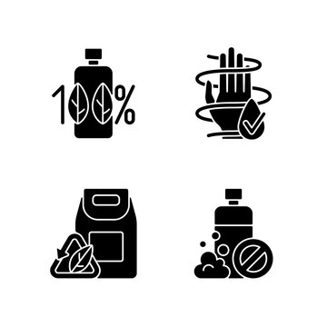 Natural cosmetics black glyph icons set on white space. 100 percent natural product. SLS free. Dermatologically tested. Modern beauty industry issues. Silhouette symbols. Vector isolated illustration