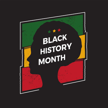Black History Month sign with female silhouette vector illustration