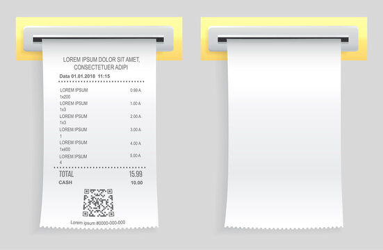 Payment check paper document poked out of cash register. Buying financial invoice bill purchasing calculate pay. Receipt the seller forms at online checkout for transfer to buyer. ATM receipt check