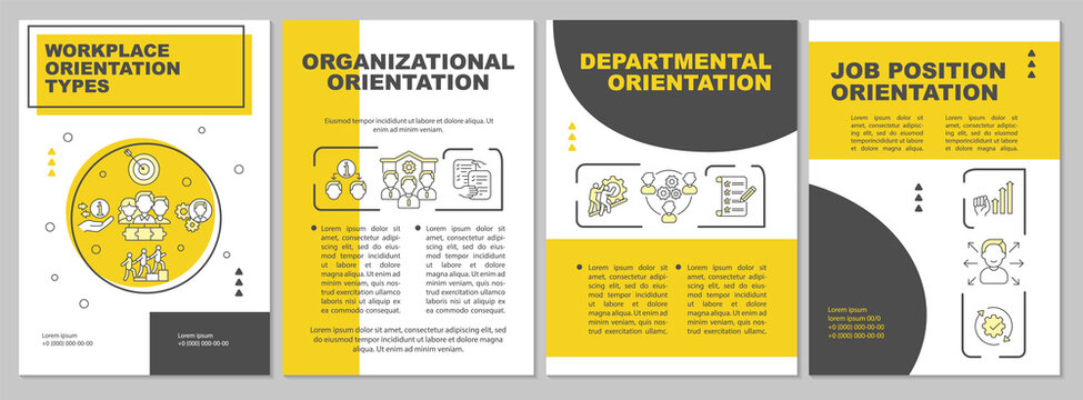 Workplace orientation brochure template. Job position. Flyer, booklet, leaflet print, cover design with linear icons. Vector layouts for magazines, annual reports, advertising posters