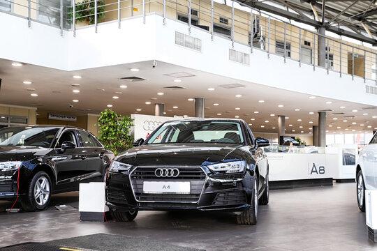 Kazan, Russia - May 27, 2018: Cars in showroom of dealership Audi in Kazan