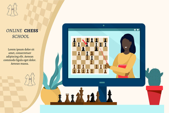 Online chess school concept. The black woman teaches remotely, explains the rules of the intellectual game. Place for text. Flat vector illustration