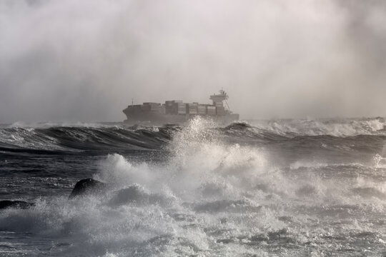 Container ship on a stormy day
