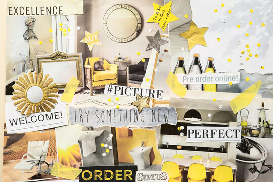 Handmade contemporary creative atmosphere art mood board collage sheet in color Ultimate Gray and Illuminating yellow made of teared magazine and printed matter paper with colors and texture.