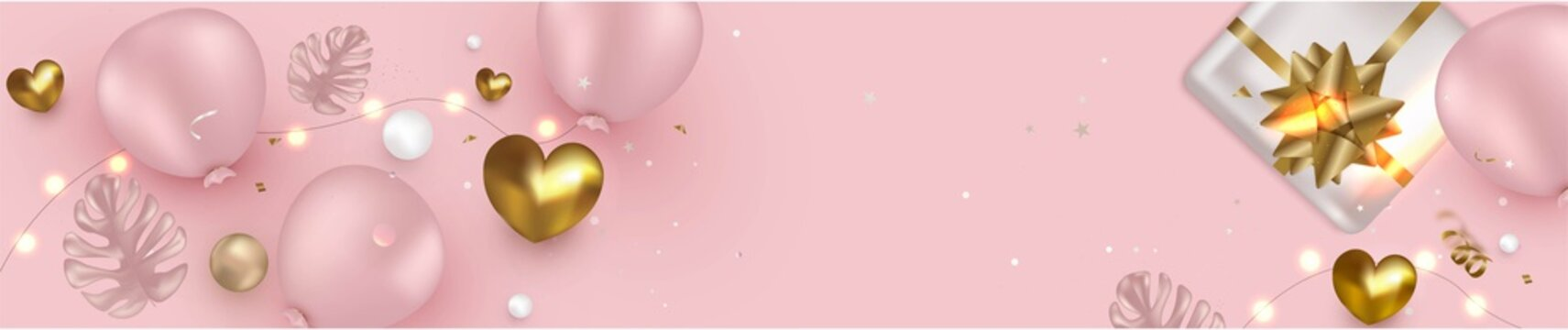 Celebration pink template with balloons, gift box, golden hearts. Flat lay horizontal banner. Concept for web cover, social networks, promotional sales.Realistic vector background.