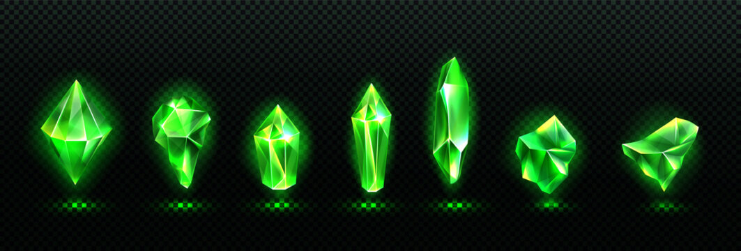 Precious emerald stones, shiny green crystals isolated on transparent background. Vector realistic set of glow gemstones different shapes, crystal gems with magic light