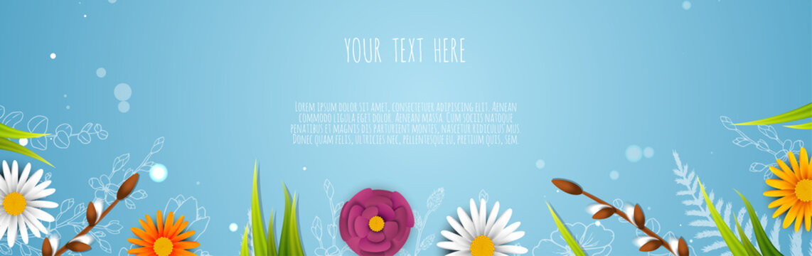 Spring sale banner with flowers. Banner perfect for promotions, magazines, advertising, web sites. Vector illustration.
