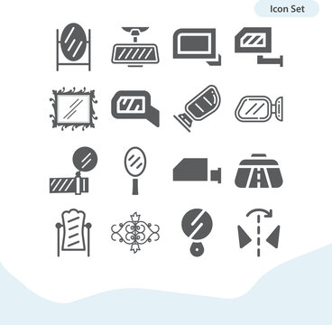 Simple set of reflective related filled icons.