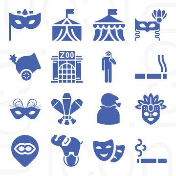16 pack of elephant  filled web icons set