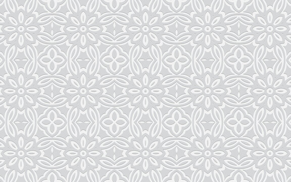 Ethnic unique geometric convex volumetric white background from 3d abstract ornament with flowers in doodling style.Texture for design and decor, wallpaper, presentations.