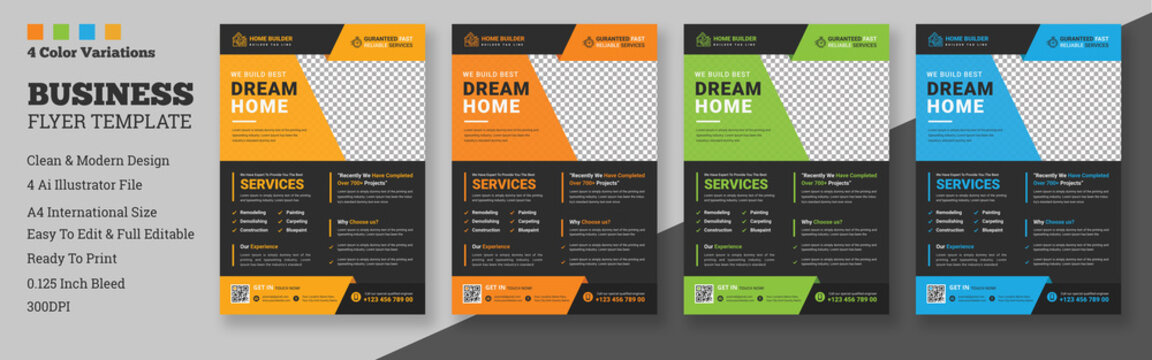 Construction Flyer Layout with Graphic Elements, A4 construction cover template for a flyer and brochure design, report, leaflets decoration for printing