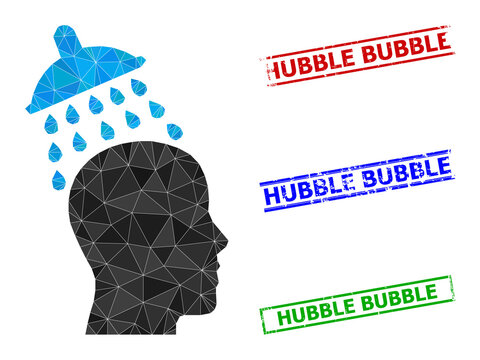 Triangle head shower polygonal icon illustration, and unclean simple Hubble Bubble stamp seals. Head Shower icon is filled with triangles. Simple watermarks uses lines, rects in red, blue,