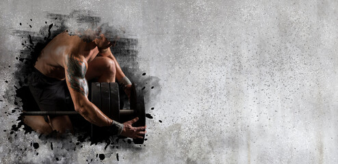 Woman workout with disc barbell on wall background