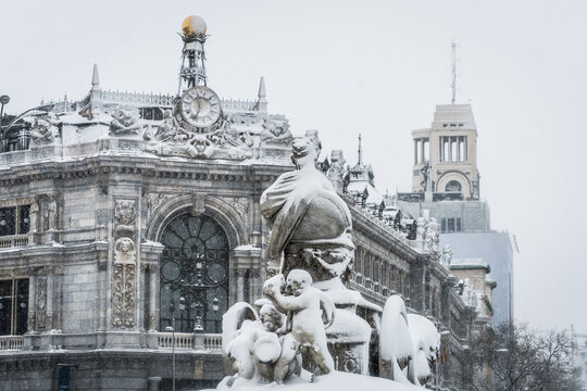 "Cityscape of the streets of Madrid during The Snow Storm ""Filomena"""