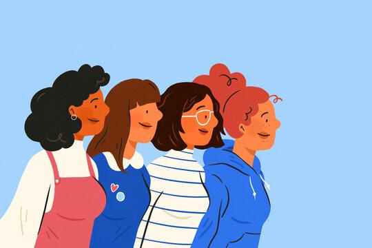 International Women day. Group of women. Female diverse ethnicity. Women empowerment movement.