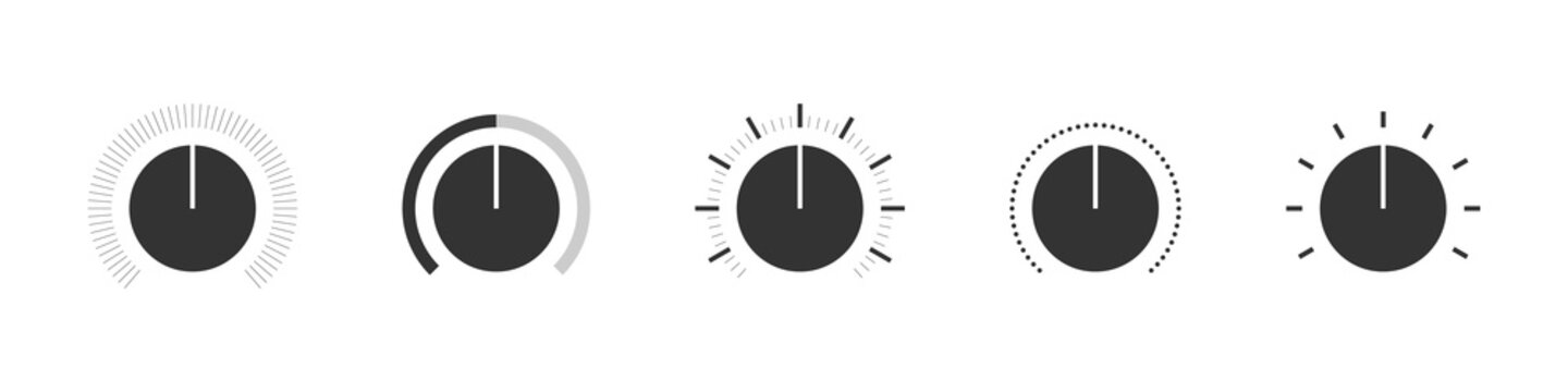 Volume control Icons. Sound control signs set. Audio controller concept. Flat style. Vector illustration