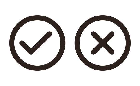 Check and Cancel Button. Yes and No symbol. Accepted and Rejected, Approved and Disapproved Web Button