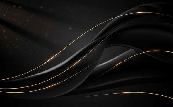 Abstract black and gold lines background with light effect