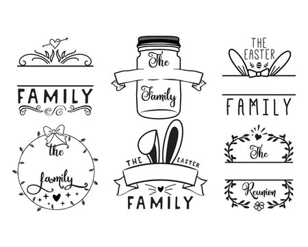 Family monogram frames set with decorations, hearts, Easter bunny ears. Elegant calligraphic emblems. Silhouette line art labels design. Stock vector.