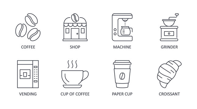 Vector coffee shop icons. Editable stroke. Sale of coffee beans building machine grinder vending paper cup dessert croissant. Linear stock illustration