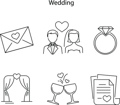 Wedding day line icons. Set of line icons. Bride and groom, wedding ring, suitcase. Wedding concept. Vector illustration can be used for topics like marriage, family, love