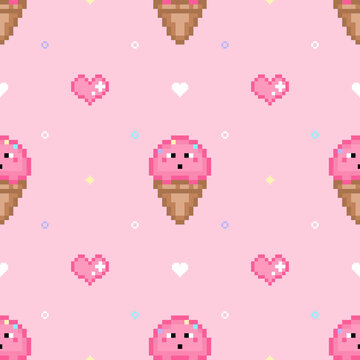 Pixel art style cartoon vector seamless pattern. Retro gaming background with strawberry ice cream cone and life hearts on pink background. Girlish endless texture with 8 bit icons in 80s 90s style.