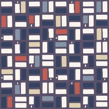 Vector paint brush check motif seamless repeat pattern