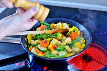 Vegetables in a pan.