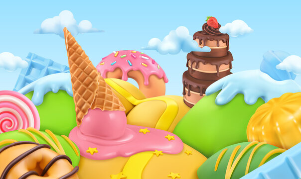 Sweet candy landscape. 3d cartoon vector background