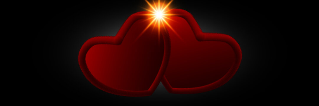 Vector illustration of heart shaped and glowing textures banner on black background. greeting card for Valentine's day.