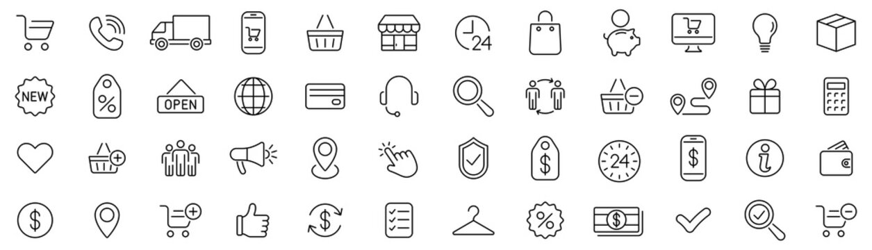 E-commerce icons set. Shopping. Online shopping thin line icons vector
