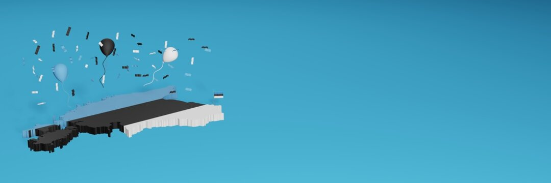 Map of Estonia combined with flags for social media and website background covers, additions Country colored balloons to celebrate national shopping day and national independence in 3d rendering