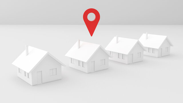 Render 3D abstract visualization with houses in a row and gps location symbol, mockup, development, for real estate offer, central, abstract background, red, clay white color, sale, perspective view