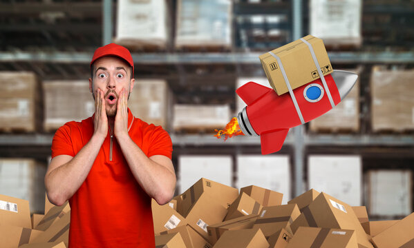 Courier has a wondered expression about a great promotion. Concept of fast delivery like a rocket.